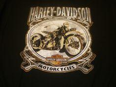 "Harley-Davidson Mens T-Shirt ""Old Bike"" Black Size X-Large"