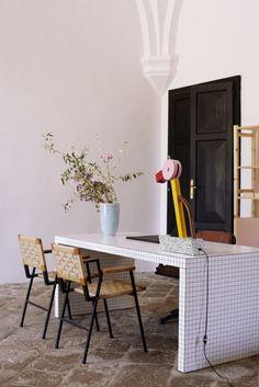 Villa Lena Reception Quaderna table by Superstudio for Zanotta. Tahiti lamp by Ettore Sottsass. Photo © Coke Bartrina