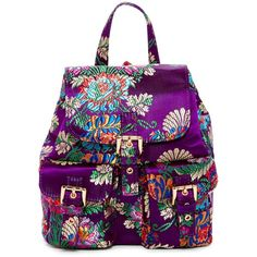Steve Madden Mischa Mini Satin Chinoserie Backpack (907.280 VND) ❤ liked on Polyvore featuring bags, backpacks, purple, day pack backpack, mini drawstring backpack, pocket backpack, mini rucksack and floral print backpack
