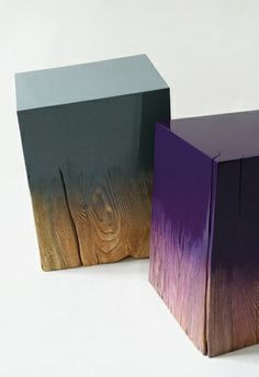 Contrasting painted wood stools