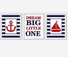 Nautical Baby Boy Nursery Decor Navy Blue Red Sailboat Anchor Baby Nursery Prints Nursery Wall Art Bath Wall Art Dream Big Little One Boys Room Art Kids Bath Decor Children Bathroom Art Baby Boy Art