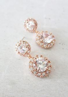 Deluxe Rose Gold Cubic Zirconia Halo style Round Teardrop dangle Earrings, Bridal Cubic Zirconia earrings, Classic Hollywood, www.colormemissy.com