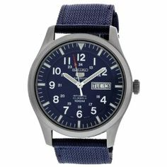 Seiko 5 Sport Automatic Navy Blue Canvas Mens Watch SNZG11 Seiko. $114.94. Water Resistance : 10 ATM / 100 meters / 330 feet. Strap. Automatic movement.. Date. Round Stainless Steel Case. Save 54%!