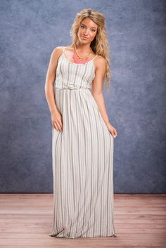 Leave It To Me Maxi Dress, Ivory || This maxi dress is simple yet stunning! The print and the cut of the front are very classic. The back however is a show stopper! The open and tied back is so unique! We love the look of it! Plus, the tie and elastic waistband make this dress very flattering! Tie Backs, Spring 2016, Stitch Fix, Ivory, Simple, Classic, Unique, How To Wear, Closet