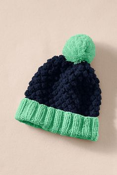 Chunky Knit Pom-Pom Hat from Lands' End Canvas