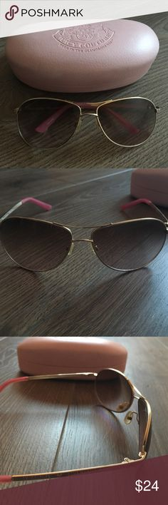 SALE ❣️ JUICY COUTURE | Spright Aviators Spright is a metal aviator featuring the Juicy Couture name and a heart on the temples. Lightweight plastic lenses provide 100% UV protection. Measures 54 mm x 16 mm x 125 mm. Gold pink frame with brown lens. Preowned condition. Comes with case, but no cleaning cloth. Juicy Couture Accessories Sunglasses
