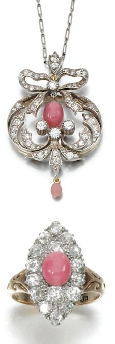 *CONCH PEARL AND DIAMOND PENDANT AND RING Comprising: an open work pendant, set to the centre with a conch pearl, suspending a smaller similarly set drop, within a frame and surmount of circular- and single-cut diamonds, to an associated curb and fetter link chain, length approximately 430mm; together with a ring centring on a conch pearl within a navette-shaped surround set with circular-cut diamonds,