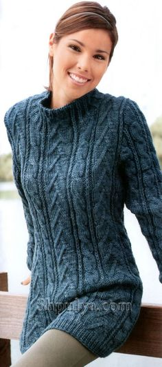 Long patterned sweater knitting needles