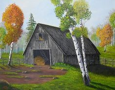 """Forest Barn as painted by, Sheri Keith. """"This old barn filled with hay is surrounded by colorful aspen trees is just waiting for the cows to come home when the season changes from autumn to winter."""""""