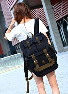 Black Canvas Travel Rucksack Backpack with Many Pockets  #canvasbackpack #militarybackpack #multipocketbag