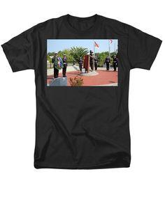Fireman Men's T-Shirt (Regular Fit) featuring the photograph Wreath Ceremony by Cynthia Guinn