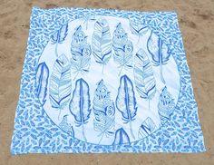 Aziatische Wandkleden Veren - Blauw/Wit - 200*220cm -