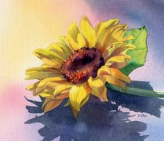 SUNNY SIDE UP watercolor floral painting, painting by artist Barbara Fox