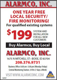 Alarm Systems, Fire Alarm Systems, Security Services Fire Security, Access Control, CCTV Systems & Service plus Idaho's only 24 hour UL approved Central Monitoring Station.