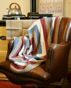 Proud To Be British Retro Throw Hand Knit  Recycled Cotton