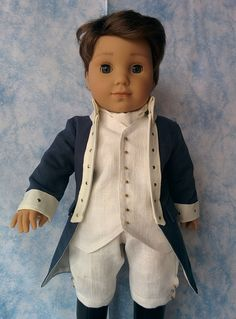 Logan as a colonial historical character Boy Doll Clothes, Doll Clothes Patterns, Doll Patterns, American Boy Doll, American Girl Clothes, Doll Costume, Costumes, 18 Inch Boy Doll, American Girl Felicity