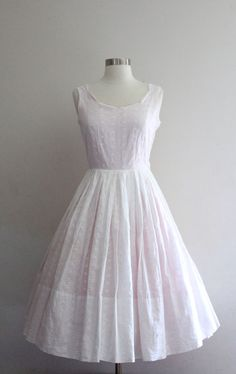 1950s Eyelet Dress  Vintage 50s White and by SavvySpinsterVintage, $90.00