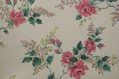 Pink Roses on White Vintage Wallpaper