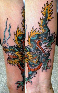 Awesome Dragon Tattoo by Juan Manuel Piranha Sancho Forarm Tattoos, 1 Tattoo, Book Tattoo, Life Tattoos, Chest Tattoo, Tatoos, Trendy Tattoos, Small Tattoos, Tattoos For Guys