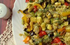 Κεχρί με ψητά λαχανικά κ σάλτσα από ταχίνι
