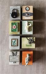 Wall Art Blocks with 3D Vintage Embellishments, Set of Eight