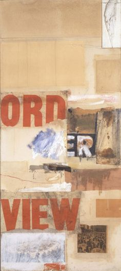 Robert Rauschenberg - 1957, Hazard. Combine: oil, bird wing mounted on wood, graphite, paper, newspaper, printed paper, and fabric on canvas (215.9 x 94 cm) Sammlung Ludwig