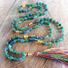 Beautiful mala necklace, green agate and citrine, multicolor tassel