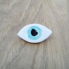 Coucou Suzette ceramic jewelry broche ceramique oeil / Eye Brooch Handmade Ceramic brooch ceramic jewelry / glazed ceramic brooch / bijoux ceramique / broche ceramique oeil / evil eye jewelry