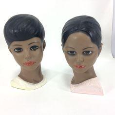 Vintage Lego Japan Girl Boy Bust Chalkware Handpainted Heads VTG Pair Brown Skin