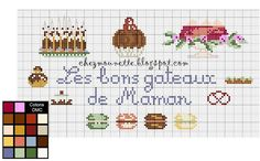 cross stitch cakes macarons gateau au point de croix