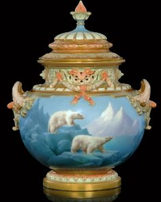 Royal Worcester Davis vase with polar bears. $20,000.00.