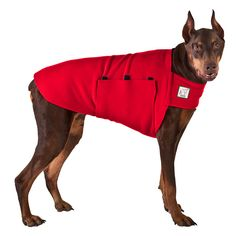 Red Doberman Pinscher Dog Tummy Warmer, great for warmth, anxiety and laying with our dog rain coat. High performance material. Made in the USA.
