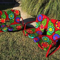 Painted furniture, These vintage lawnchairs are ready for fireside chats www.paintingchick.com
