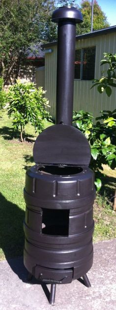 """Hi Guys My First Instructable. Here is my version of a typical """"outdoor wood heater"""" built over the holiday break ready for winter in Australia. Woodworking Guide, Custom Woodworking, Woodworking Projects Plans, High Temp Paint, Rocket Stoves, Camping Stove, Water Pipes, Dining Furniture, Wood Heaters"""