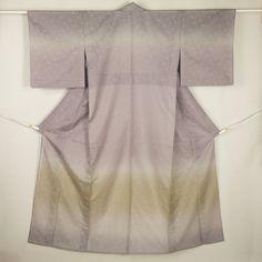 Gray, purple, houmongi formal kimono /【訪問着】リサイクル着物/グレー系 グラデーションに桐唐草柄 紋紗の単衣 夏物