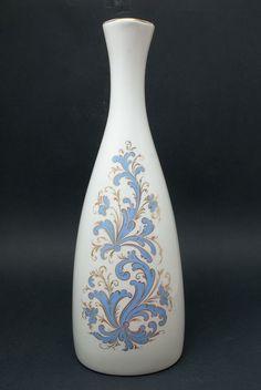 Vintage Porcelain Vase Seljord Porsgrund Rosemaling Norwegian Blue Gold Pottery
