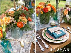 Peach and blue table setting. Inspiration Shoot, Photography by Bauman Photographers  View More: http://baumanphotographers.com/blog/weddings/2014/05/inspiration-session-san-diego-ca/