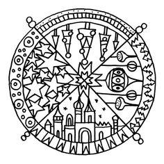 Advent, Mandala, zum ausmalen, color in, Christmas, schaeresteipapier Christmas Hanukkah, Winter Christmas, Christmas Activities For Kids, School Projects, Xmas, Noel, Advent Calendar, Creative, Craft