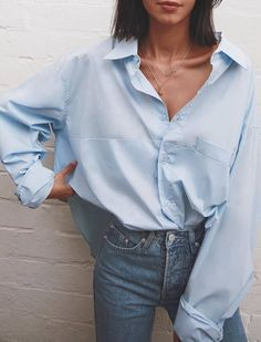 #spring #outfits loose blue button shirt, jeans