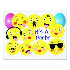A fun design with cute smiley faces in the style of trendy emoji displaying happy and funny emotions on yellow faces with party balloons. Fabulous invitations suitable for any age and any gender; popular with young adults and teenagers.