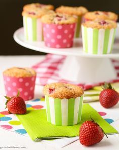 Breakfast muffins filled with strawberries and rhubarb and  ARE THE PERFECT COMBINATION OF SWEET AND TART AND ARE FINISHED WITH AN IRRESISTIBLE CRUNCHY SUGAR TOPPING.