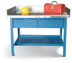 Shop Table with Drawers and Stainless Steel Top - Shop table with 7 stainless steel gauge top with side and back guard, 12 gauge steel bottom shelf and 2 drawers. Industrial Shop, Industrial Storage, Stainless Steel Cabinets, Steel Gauge, Kitchen Cart, Storage Solutions, Drawers, Shelf, Table