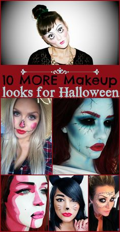 10 MORE Makeup Looks for Halloween, creepy, cute and unique ideas for your Halloween makeup! - ThisSillyGirlsLife.com Pinned over 10,000 times!