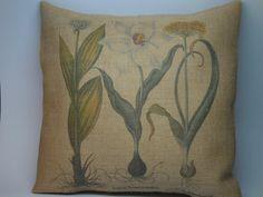 Botanical Print Burlap Pillow Rustic by PolkadotApplePillows