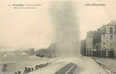 Saint-Malo, marée du 29 Octobre 1905, vagues sur le Sillon Monuments, St Malo, Region Bretagne, Constellations, Niagara Falls, France, Nature, Travel, Retro