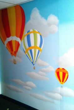 Hot Air Balloon School Mural