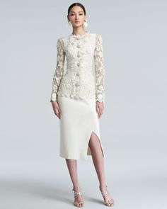 Oscar de la Renta Long-Sleeve Floral-Embroidered Lace Jacket Georgette Tank Side-Slit Crepe Midi Dress