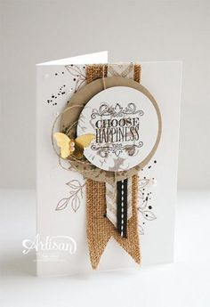Cool Cards, Diy Cards, Burlap Card, Burlap Ribbon, Butterfly Cards, Card Making Inspiration, Card Tags, Paper Cards, Creative Cards
