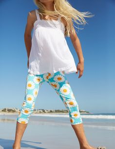 Floaty Broderie Top & Printed Cropped Leggings in Daisy | Mini Boden