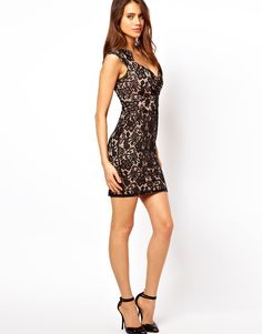 Side Frontal View - Lipsy Lace Overlay Bodycon Dress